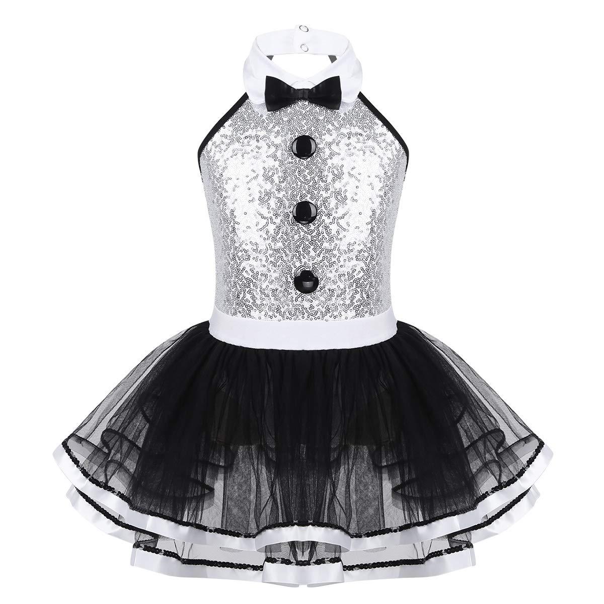 iEFiEL Abito da Ballo Danza Bambine Vestito da Balletto Leotard con Paillettes Abito da Compleanno Body da Ginnastica Dancewear Tutu Papillon Senza Maniche 3-12 Anni