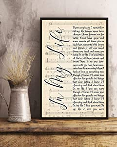 kalistamao Wall Art-in My Life Lyrics Portrait Poster Print for Home、Office and Cafe 12x10in with Frame