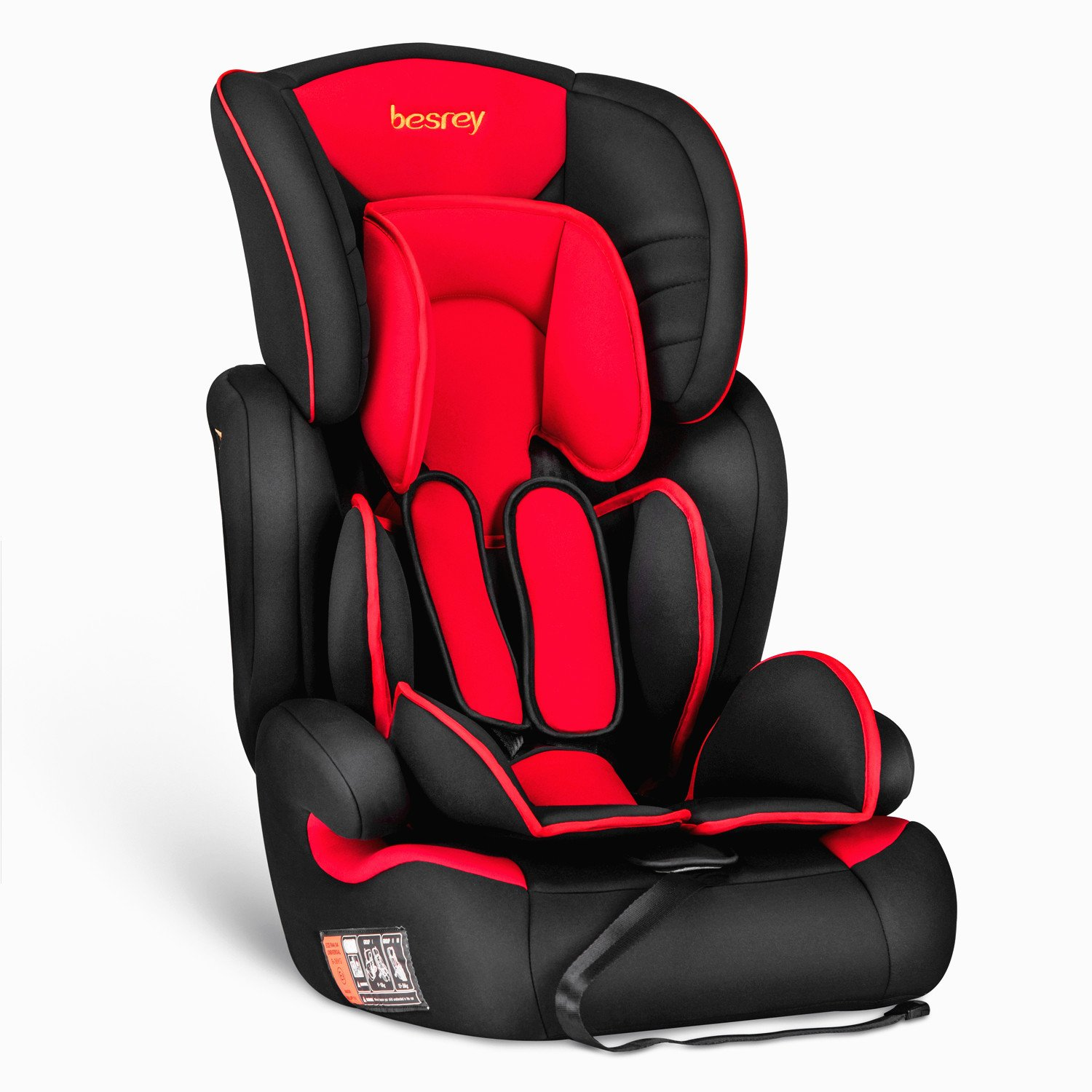 Besrey Car Seat Baby Car Booster Seat Group 1 2 3 Suits from 9 Months-12 Years - Black and Red ZK505A