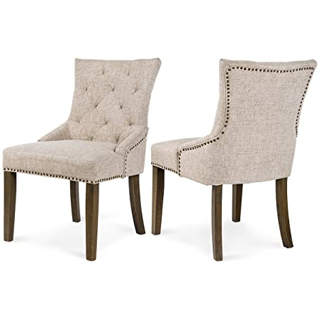 Merax Dining Chair Leisure Padded Chair with Armrest, Nailed Trim, Beige, Set of 2,WF010762AAA