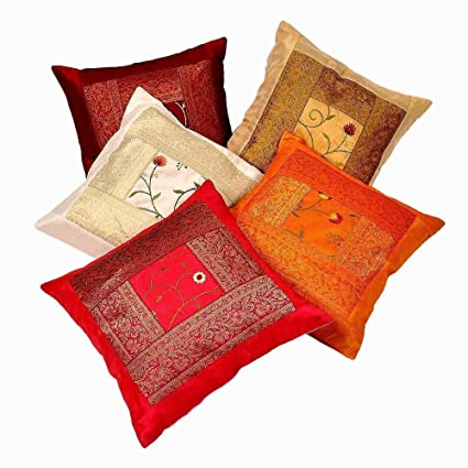 ab254d49e4 Indian Ethnic Hand Embroidery Decorative Silk Pillow Cushion Cover Set of 5  Pcs Size 16 X 16 Inches: Amazon.co.uk: Kitchen & Home