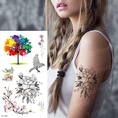 Handaxian 3pcstattoo Autocollant Fleur Tatouage Femme Unique Fleur Tatouage Autocollant Decalcomanie Femme Art Du Corps Oiseau Cage Tatouage Amazon Fr Cuisine Maison