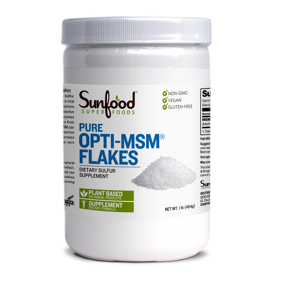 Sunfood Superfoods Opti-MSM Flakes- Bulk Value. 100% Pure Dietary Sulfur Supplement. Highest Quality MSM. Build Collagen, Anti-Inflammatory. Plant Based. Non-GMO, Gluten-Free, Vegan.1 lb Tub