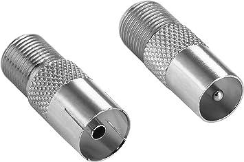 Poppstar 2X Adaptador coaxial para Cable de Antena (1x Conector F Hembra a CEI Macho, 1x Conector F Hembra a CEI Hembra), Acoplamiento coaxial, ...