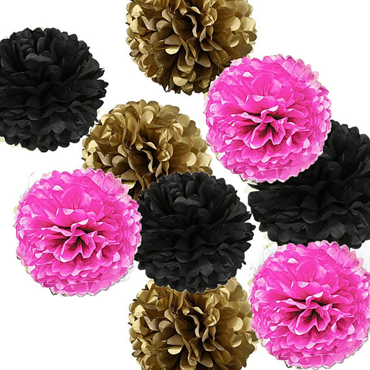 16pcs Tissue Paper Pom Pom White Pink Gold Black Paper Flower Ball Decoration Tissue Ball Paper Decoration for Baby Shower Parisian, French, Paris, Pink, Pink and Black Birthday Party Ideas furunxin