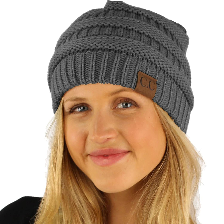3c0551e3eb1dc CC Fleeced Fuzzy Lined Unisex Chunky Thick Warm Stretchy Beanie Hat Cap C.C