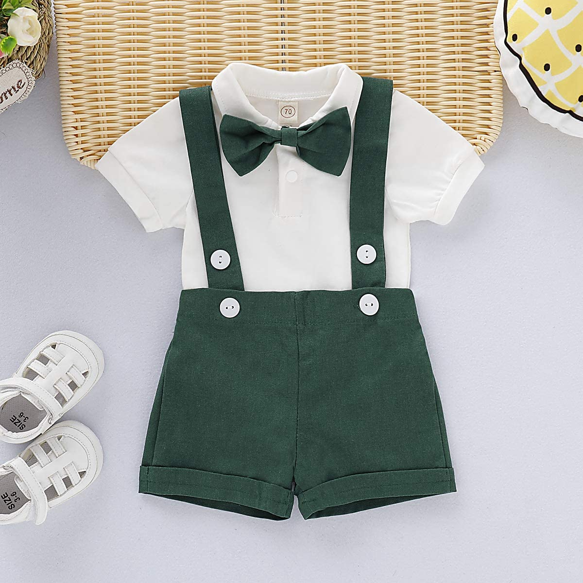 Baby Boy Short Sleeves Formal BowTie Romper Summer Tuxedo Outfit size 2