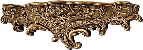 Design Toscano EU4453 Brussels Floral Art Nouveau Sculptural Wall Shelf,Gold