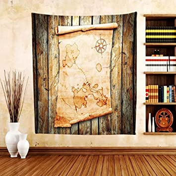 Amazon.com: Gzhihine Custom tapestry Island Map Decor Tapestry ...