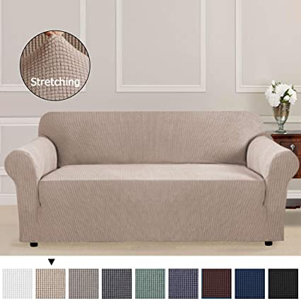 Excellent 1 Piece Sofa Slipcover Beige Couch Covers Lycra Furniture Protector Spandex Sofa Covers Form Fit Slip Resistant Stylish Furniture Protector Sofa 3 Ncnpc Chair Design For Home Ncnpcorg