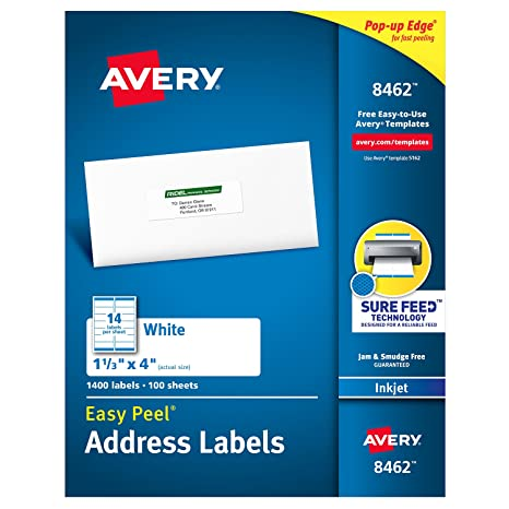 Avery Address Labels With Sure Feed For Inkjet Printers
