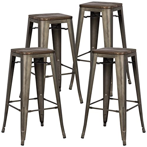 Poly and Bark Trattoria 30 Inch Metal Bar Counter Stool with Elm Wood Seat, Industrial, Backless, Stackable in Bronze Set of 4
