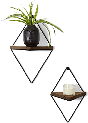 Floating Rustic Wood Triangle Shelves- Set of 2 – Dark Oak Finish – Farmhouse Shelf – Wall Decor – Mounting Hardware Included – Geometric Floating Shelf – Large Small – Modern Sleek Decoration