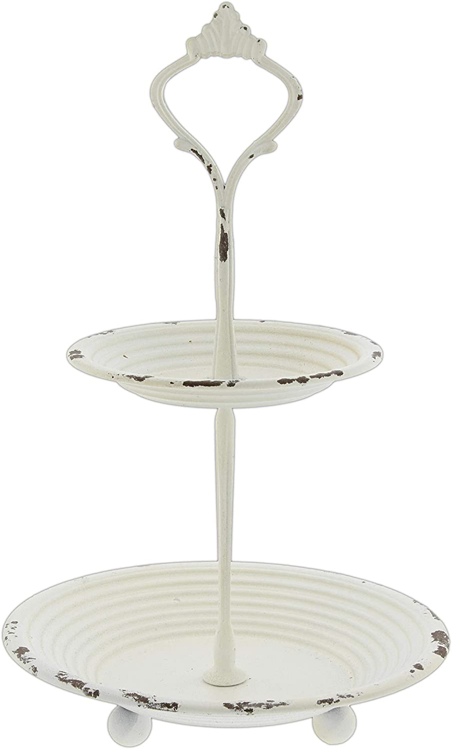 The Bridge Collection Distressed Metal Two-Tiered Display Stand