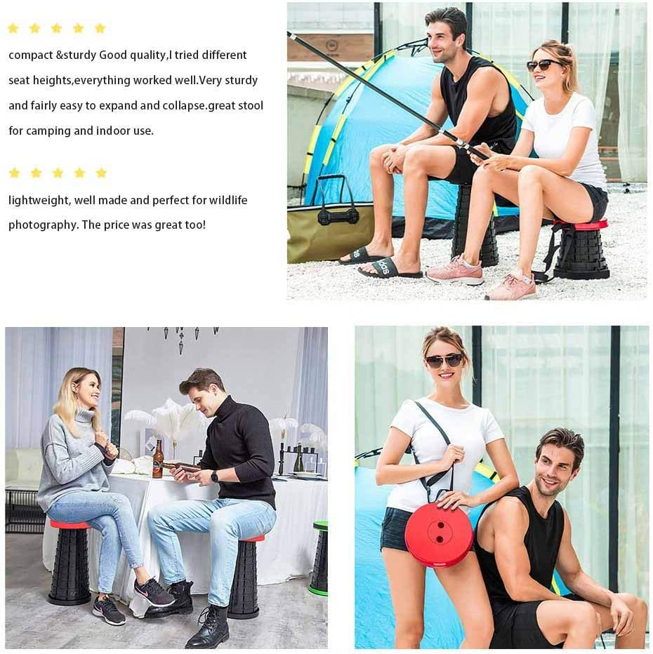 Retractable Folding Stools Telescoping Seat Adjustable Sturdy Portable Lightweight Use for Fishing//Hiking//Travel//Camping//Indoors Load 400lbs Red