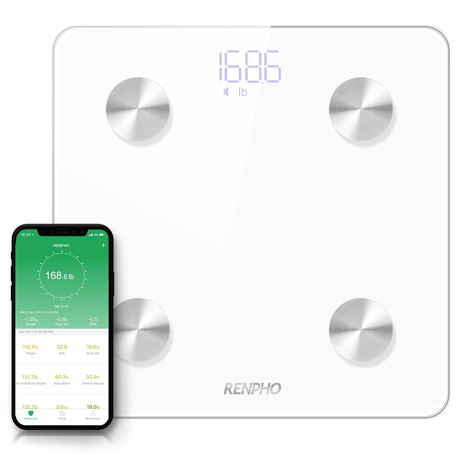 RENPHO Bluetooth Body Fat Scale - FDA Approved - Smart BMI Scale Digital Bathroom Wireless Weight Scale, Body Composition Analyzer with Smartphone App, 396 lbs ES-CS20M-B