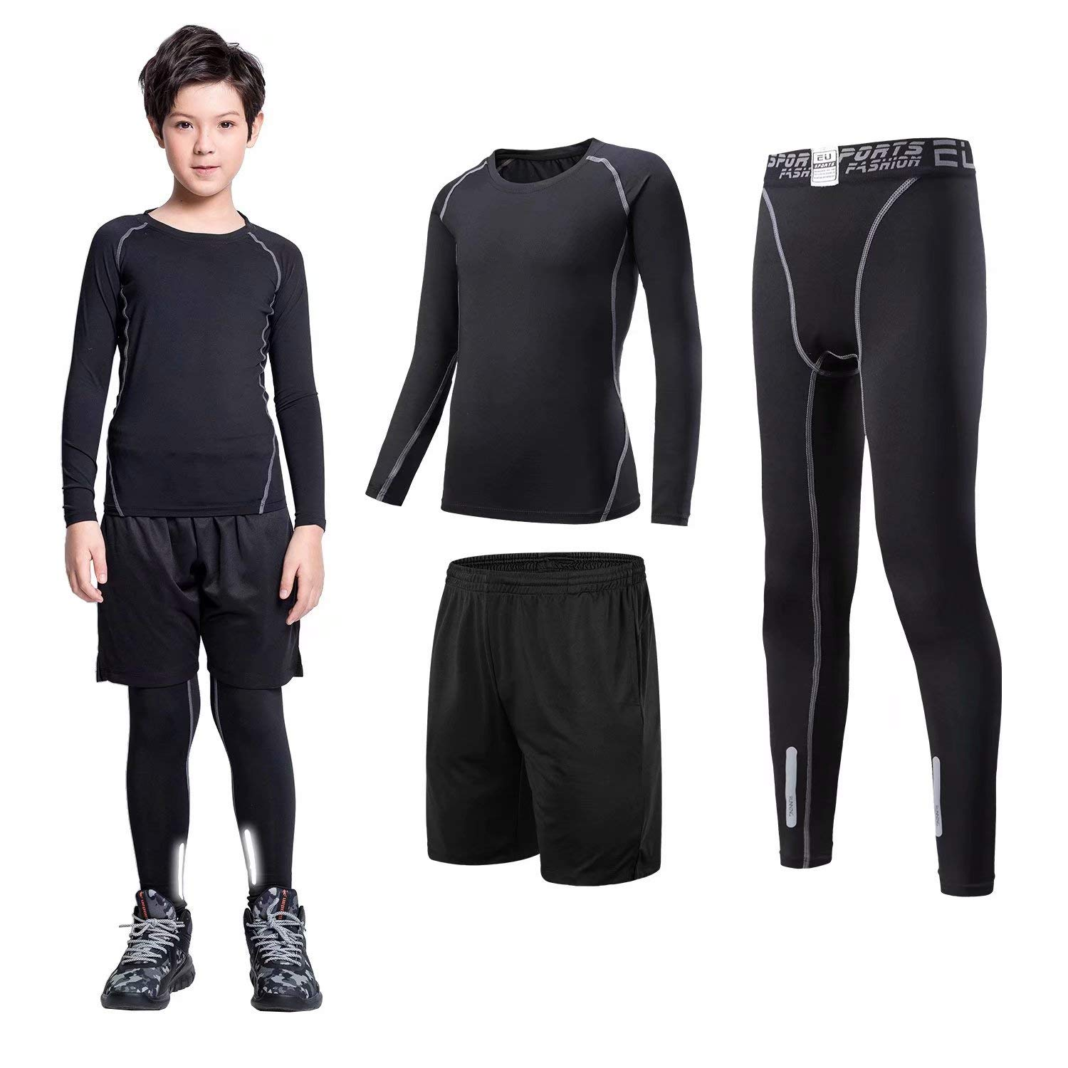 Sillictor Sports Long Johns for Boys Thermal Base Layer Kids Compression Pants and Shirts Set Unisex Warm Sweat-wicking Breathable