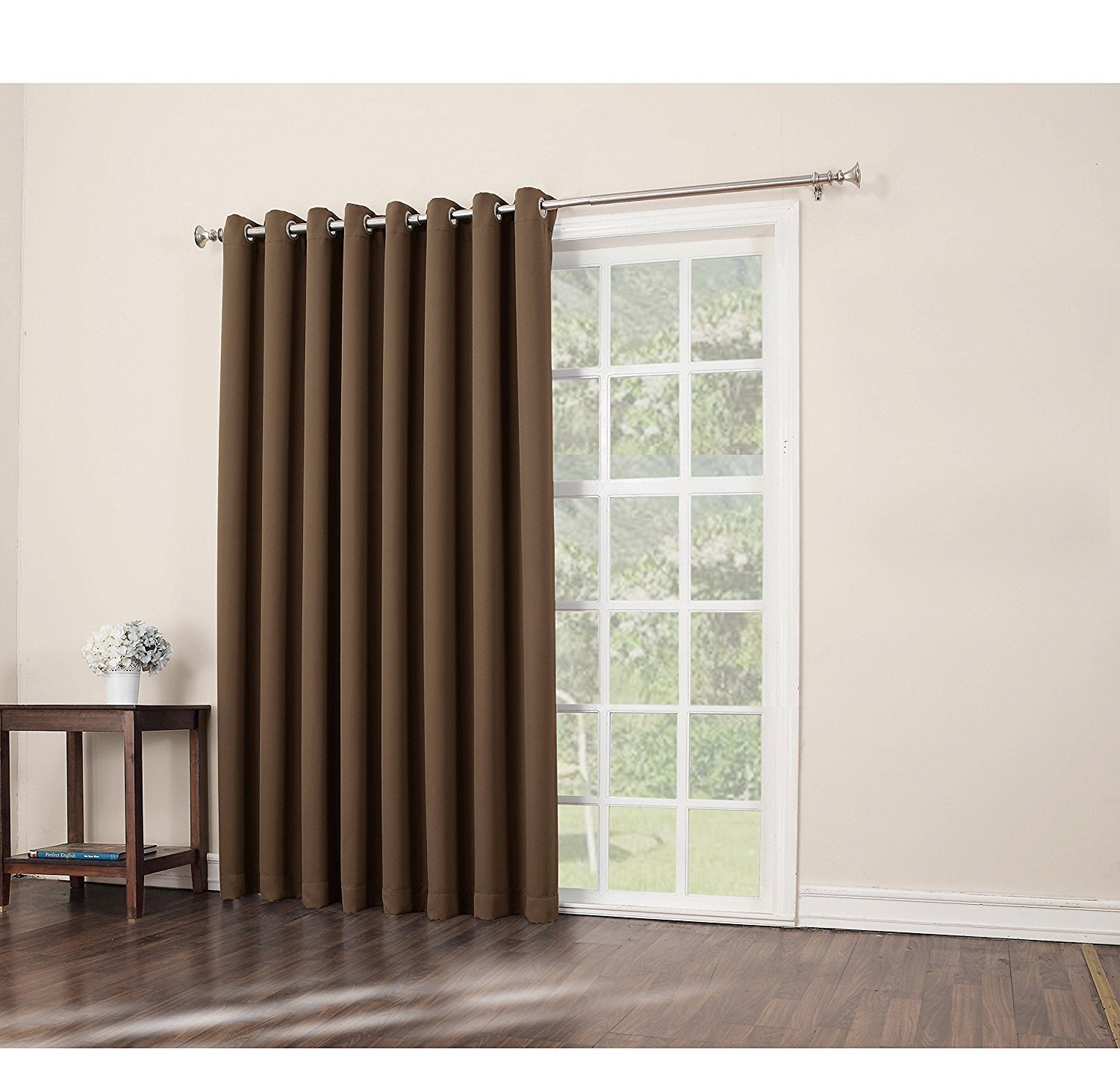 1pc 84 Barley Solid Color Sliding Door Curtain, Dark Brown Sliding Patio Door Panel Window Treatment Single Panel, Modern Design Contemporary Curtains Glass Door, Grommet Polyester