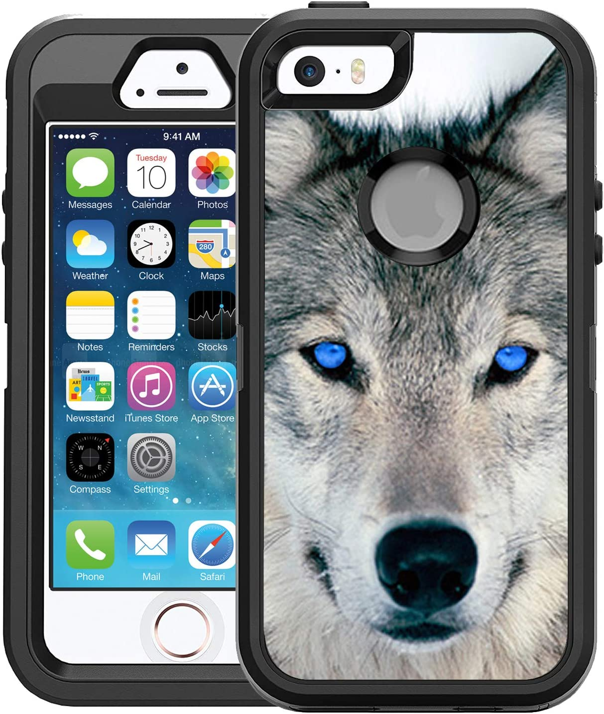 Teleskins Protective Designer Vinyl Skin Decals/Stickers Compatible with Otterbox Defender iPhone 5/5S/Se Case -Blue Eyed Wolf Face Wolves Design Patterns - only Skins and not Case