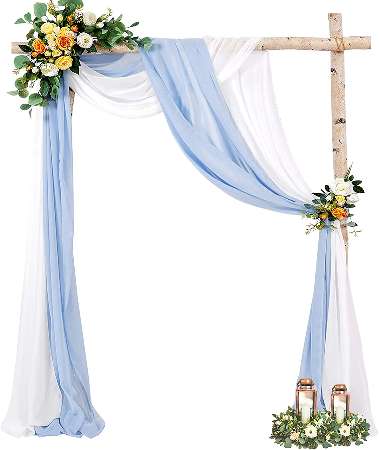 Wedding Arch Panel Chiffon Fabric Drapery 6 Yards White Baby Blue Wedding Arches for Ceremony Reception Photo Backdrop Curtain Party Ceiling Decor Backdrop 2 Panel