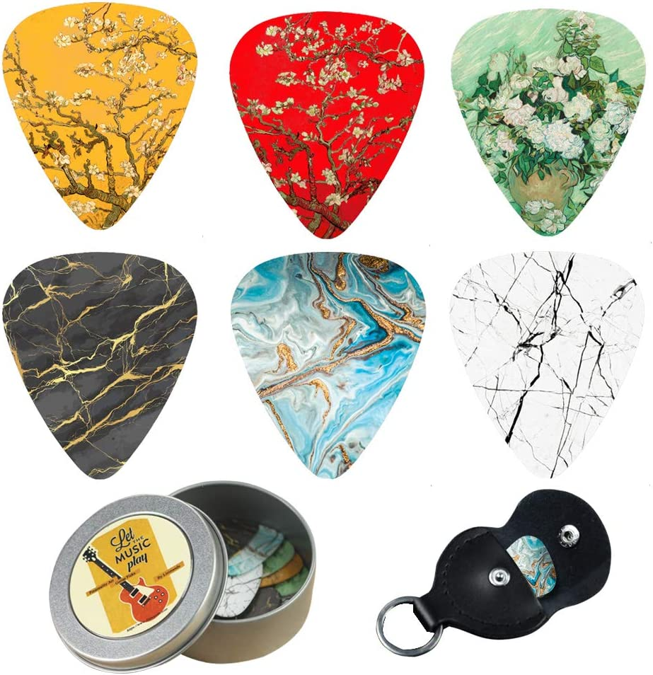 2-Compass Plant 12-pack 0.71mm Stylish Colorful Celluloid Guitar Picks Plectrums for Guitar Bass