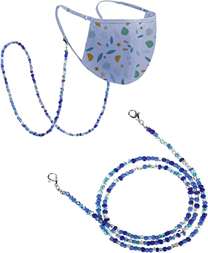 4 Pieces Face Covering Holder Beaded Necklace Strap Face Covering Lanyard Handy Convenient Safety Cover Holder Hanger for Hanging Around Neck