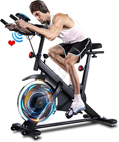FUNMILY Indoor Exercise Bike Stationary, 49LBS Cycling Bike with Heart Rate Monitor LCD Monitor, Comfortable Seat Cushion, Heavy Flywheel Upgraded Version