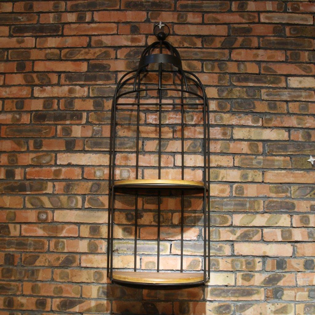 LQQGXL Storage and organization Shelf retro wall iron flower racks simple wall decoration solid wood birdcage (Color : Black)