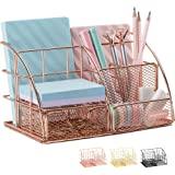 Rose Gold Desk Organizer for Women, AUPSEN Mesh Office Supplies Desk Accessories, Features 5 Compartments + 1 Mini Sliding Dr