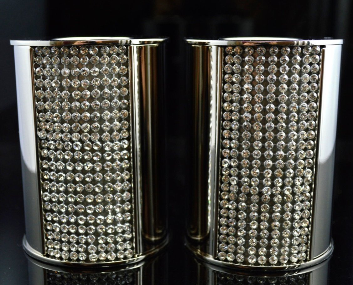 hcaa Elegant Silver And Crystal Candle Holder Tealight Dinner Candle Set of 2 Gift (2 short (tealight))