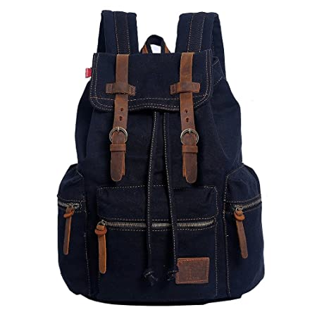 VRIKOO Retro Unisex Canvas Casual Daypacks Travel Rucksack Fashion School Bag Laptop Backpack (Yellowish-brown) 0TBmpTacgH