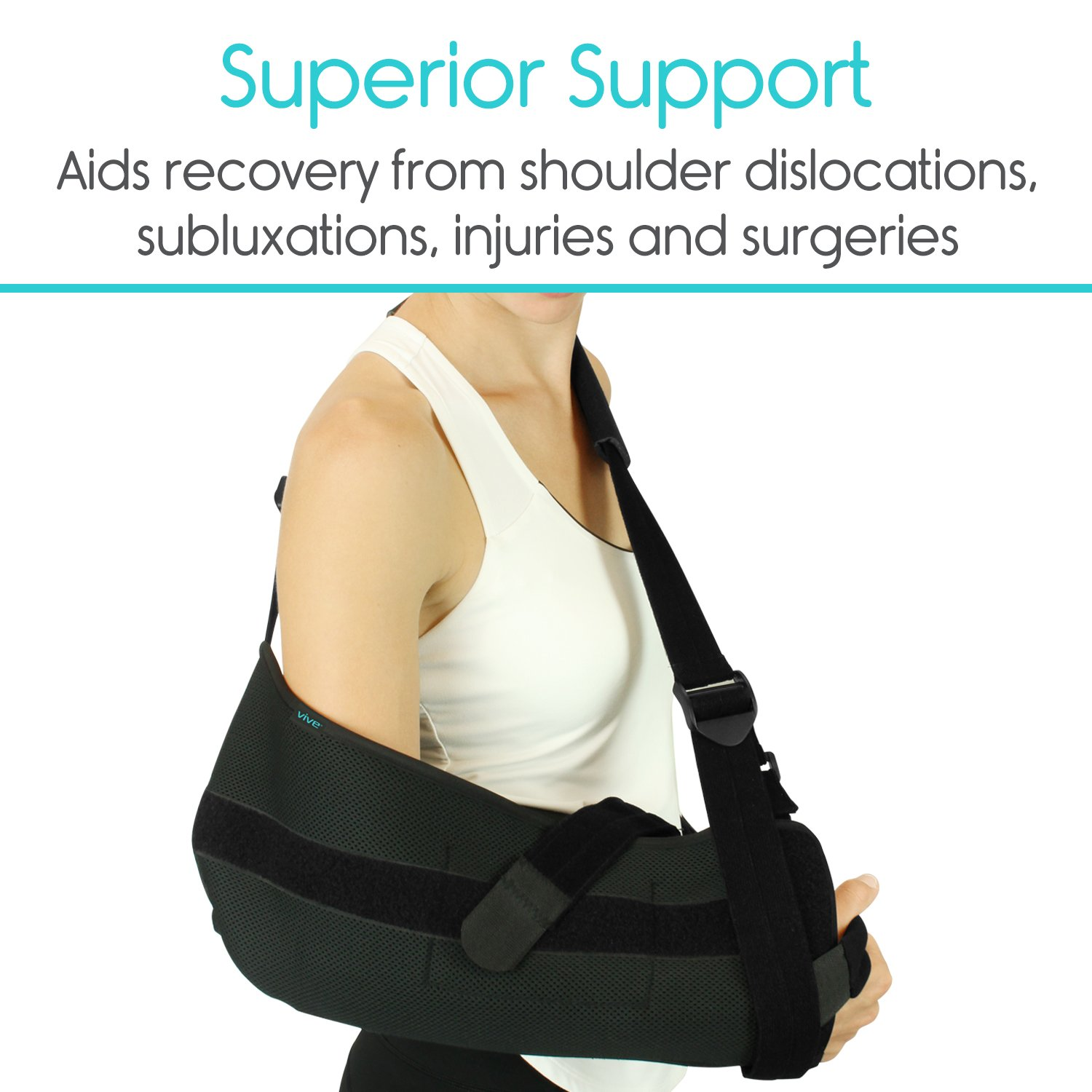 Vive Shoulder Sling - Abduction Immobilizer for Injury Support - Pain Relief Arm Pillow for Rotator Cuff, Sublexion, Surgery, Dislocated, Broken Arm - Brace Includes Pocket Strap, Stress Ball, Wedge by VIVE (Image #5)