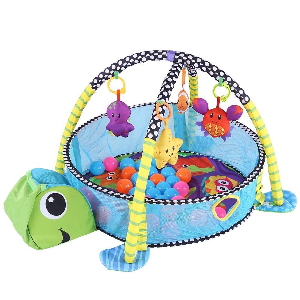 Palestrina educativa Tappeto da gioco Palestrina tappetino per neonato peluche svolgere quadro,PlayMat per bambini(tartaruga)