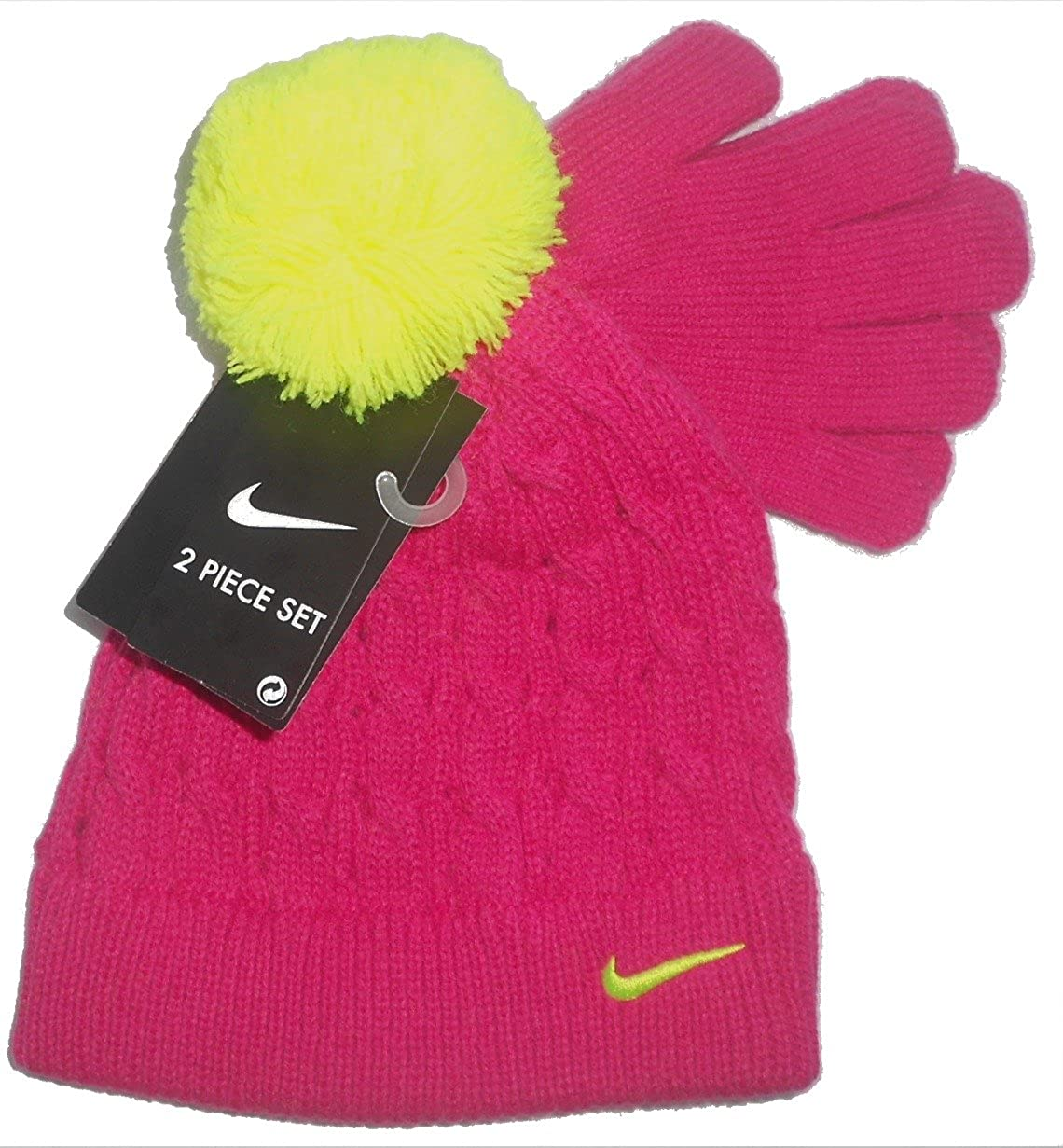 36f46f9d Amazon.com: Nike Pom Pom Knit Ski beanie Cap Hat With Gloves set (4/6X,  Pink Force): Sports & Outdoors