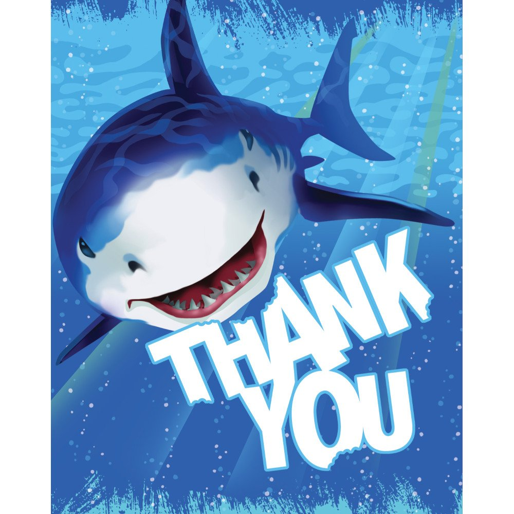 Creative Converting Shark Splash 8 Count Thank You Cards