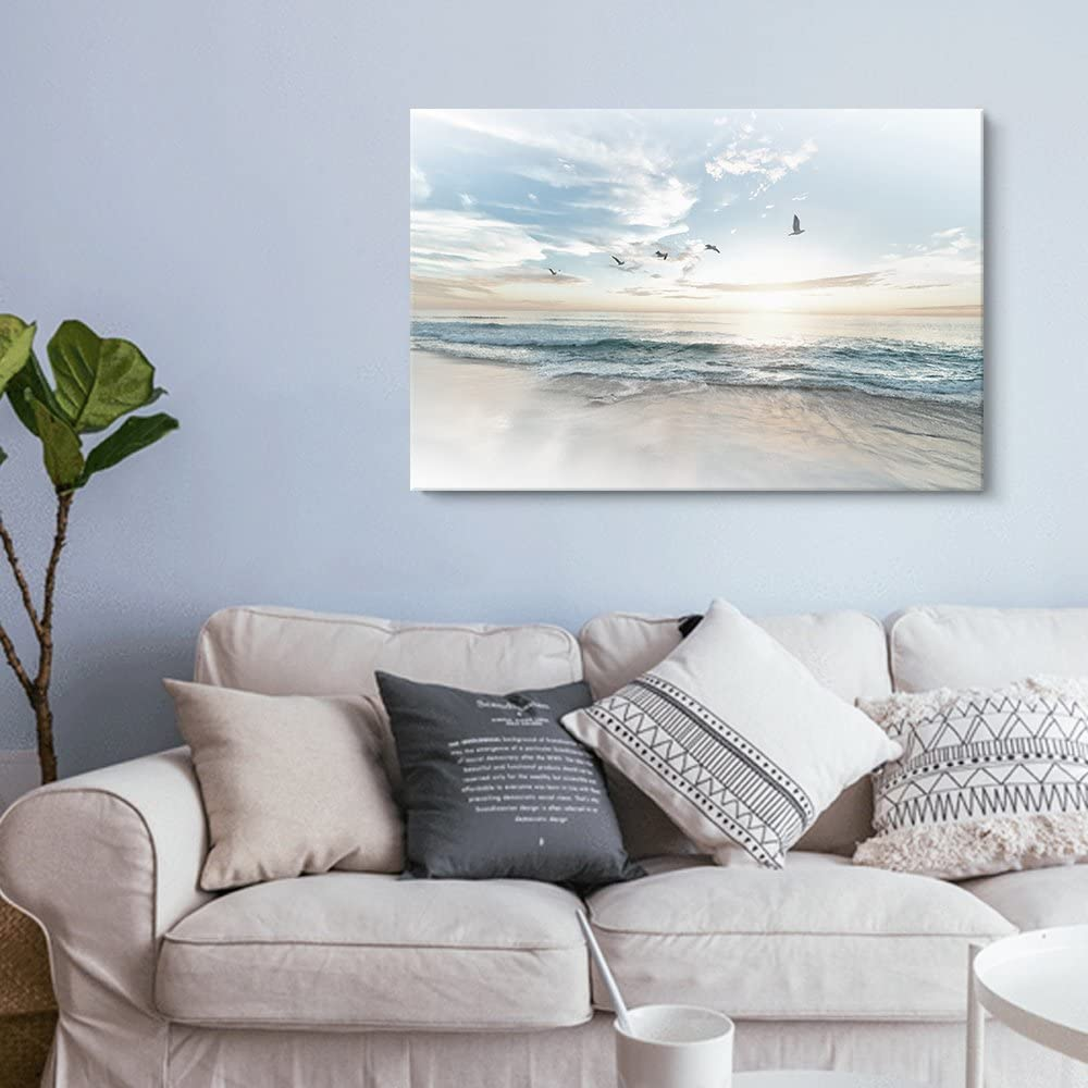 """wall26 Canvas Wall Art - Watercolor Style Waves on The Beach with Sea Birds - Giclee Print Gallery Wrap Modern Home Art Ready to Hang - 16"""" x 24"""""""
