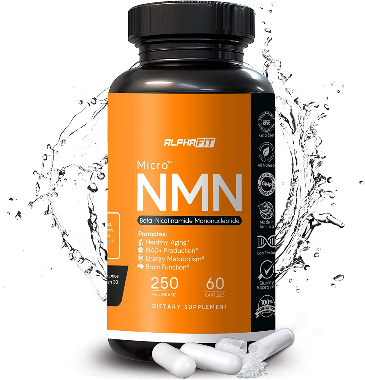 NMN Supplements - NMN Nicotinamide Mononucleotide Supplement - NAD Supplement - NAD Booster Supplement - NMN Supplement NAD Plus Cell Regenerator - NMN - Anti Aging Supplement - 250mg - AlphaFit