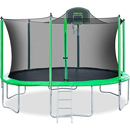 Merax 14FT 12FT Trampoline with Safety Enclosure Net, Basketball Hoop and Ladder – BV Certificated Basketball Trampoline