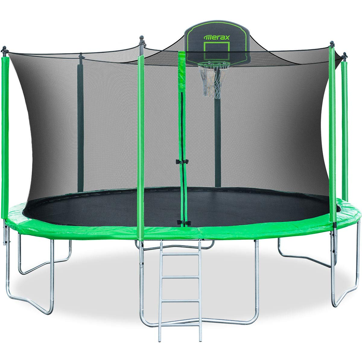 Merax 14FT 12FT Trampoline with Safety Enclosure Net, Basketball Hoop and Ladder - BV Certificated - Basketball Trampoline (14 Feet)