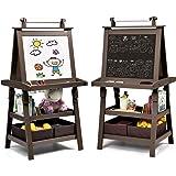 Costzon Kids Art Easel, 3 in 1 Double-Sided Storage Easel w/Whiteboard, Chalkboard & Paper Roll, 2-Tier Rack w/ 2 Storage Box