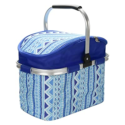 Picnic Basket, 26L Large Size Insulated Picnic Basket - BBQ Meat Drinks Cooler Bag - Folding Collapsible Cooler Basket for Family Vacations Parties Outdoor Travel, Keep Food Cold Storage (Blue) : Garden & Outdoor