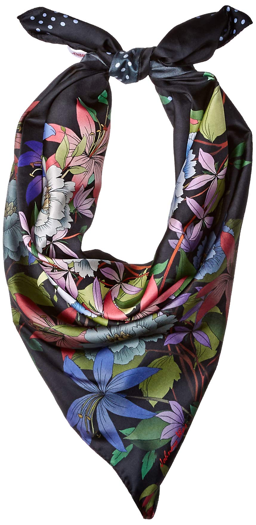 Johnny Was Women's Patterned Silk Square Scarf with Tassels, black/multi, O/S
