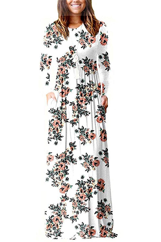 TALLA M. Dasbayla - Vestido - Trapecio - Manga Larga - para Mujer Floral-white