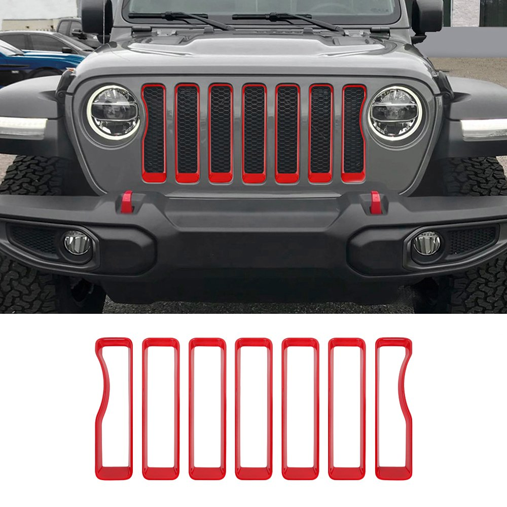JeCar Red Headlight Covers Trim for 2018 Jeep wrangler JL (Pack of 2)