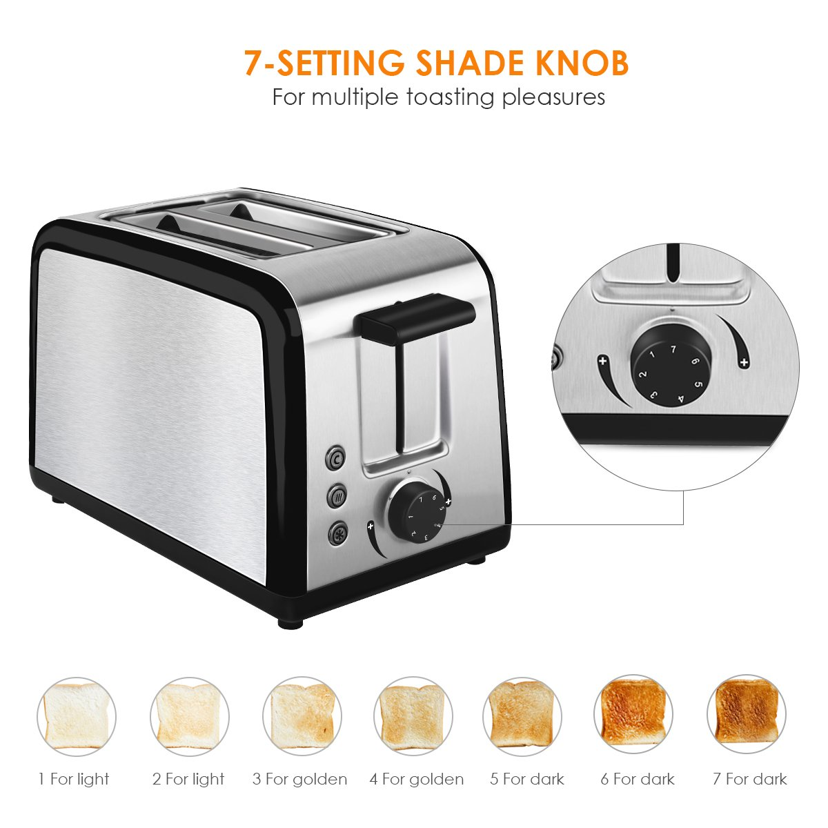 Toaster 2 Slice Warming Rack Brushed Stainless Steel for Breakfast Bread Toasters Best Rated Has Defrost Reheat Cancel Button Removable Crumb Tray By KEEMO by Keemo (Image #6)