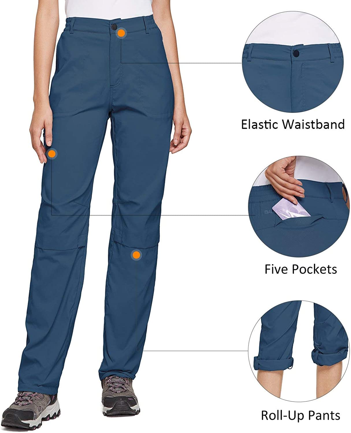 BALEAF Womens Lightweight Hiking Pants Convertible Roll Up UPF 50 Stretch Outdoor Capri Pants Water Resistant