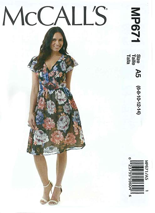 24966074f00 Amazon.com  McCall s MP671    7566 V-Neckline Ruffled Flair Summer ...