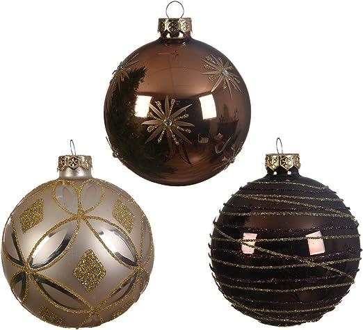 12 Weihnachtskugeln Jute mit Spitze 8cm Kunststoff Christbaumkugeln Baumschmuck