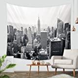 """New York City Tapestry Wall Hanging-Sunset Skyscrapers in New York Hanging Tapestry By ZBLX for Home and Wall Decorations. (Black51.2""""X59.1"""")"""
