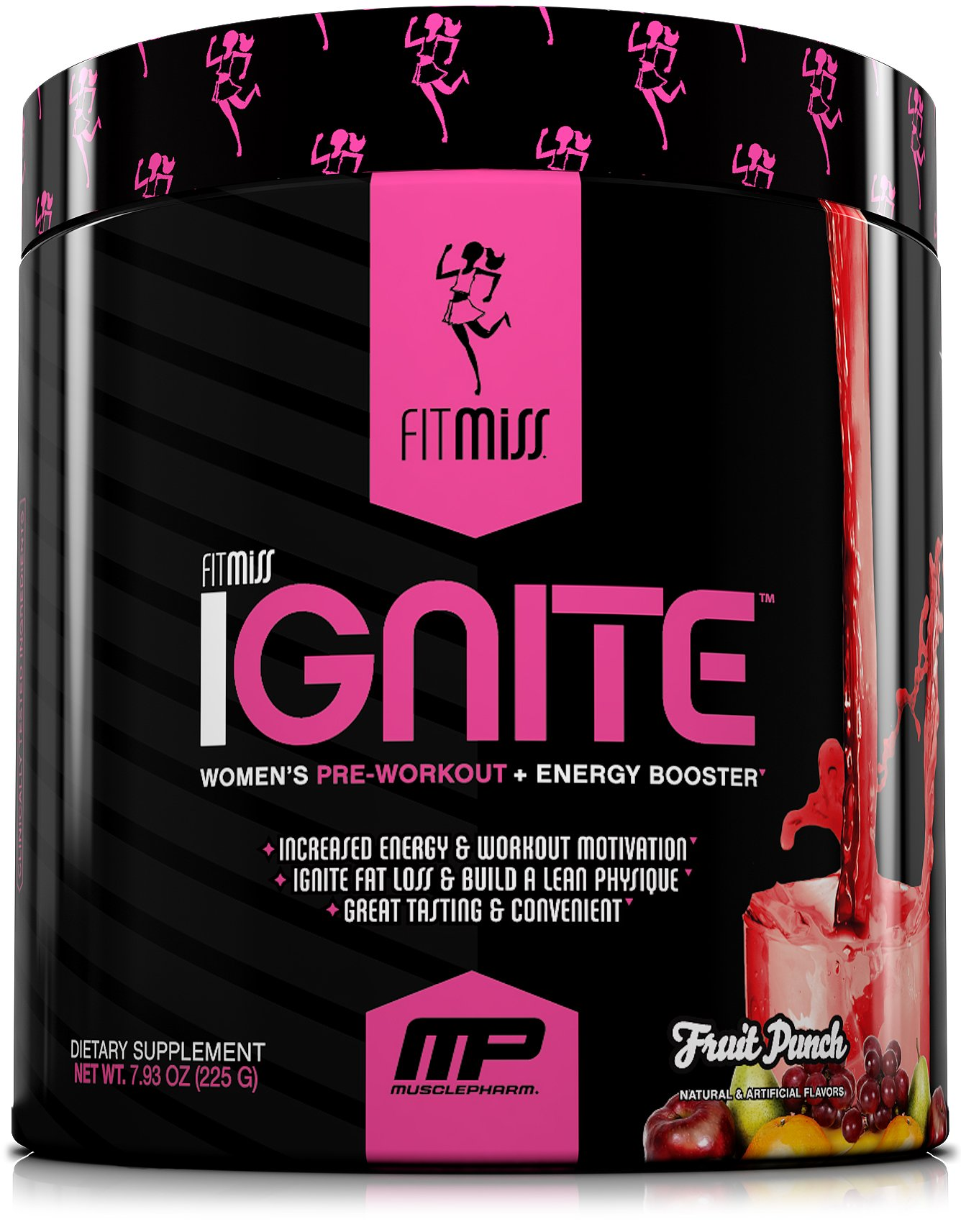 FitMiss Ignite, Women's Pre-Workout Supplement & Energy Booster for Fat Loss, Supports Energy & Workout Motivation, Fruit Punch, 30 Servings by FitMiss